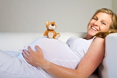 59271895 - mulher gravida com ursinho