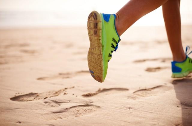 correr na areia