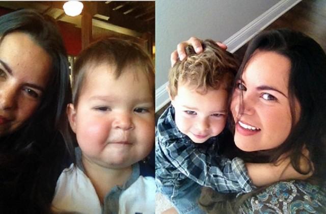 Mariana Parreiras e os pequenos John e Matt. Foto: Arquivo pessoal.