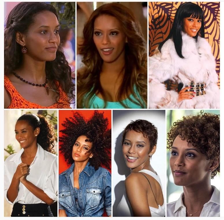 Esse foi o processo de transição capilar da atriz Taís Araújo. (Foto: Instagram)