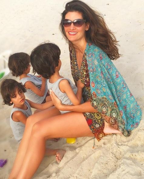 Isabella Fiorentino com os filhos