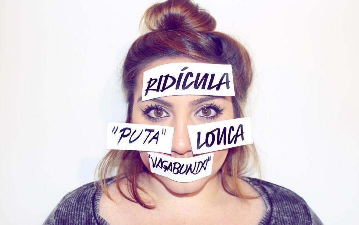 Palavras fortes que representam a violência psicológica que mulheres sofrem fazem parte da campanha #Tambéméviolência. (Foto: Instagram)